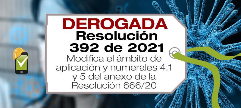 La Resolución 392 de 2021 modifica el artículo 2 y los numerales 4.1 y 5 de la R666/20