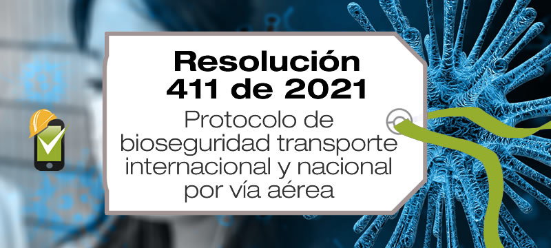 En la Resolución 411 de 2021 se unifican los protocolos de bioseguridad en el transporte nacional e internacional de personas por vía aérea.