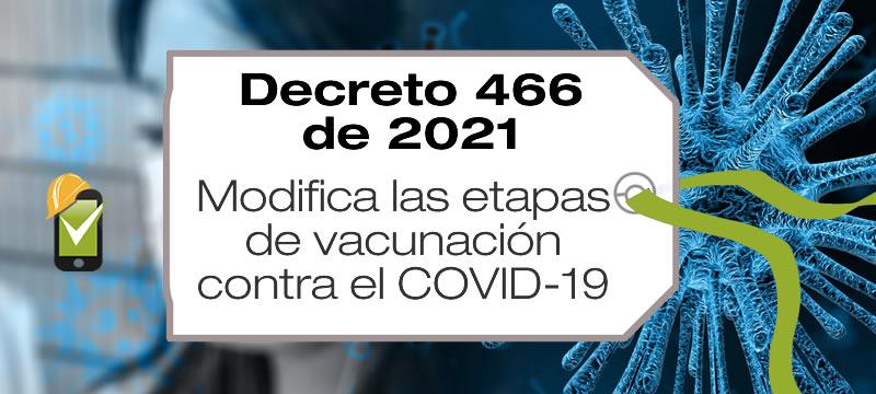 El Decreto 466 de 2021 modifica las etapas del Plan Nacional de Vacunación contra COVID-19