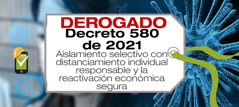 El Decreto 580 de 2021 reglamenta el aislamiento selectivo con distanciamiento individual responsable y la reactivación económica segura.