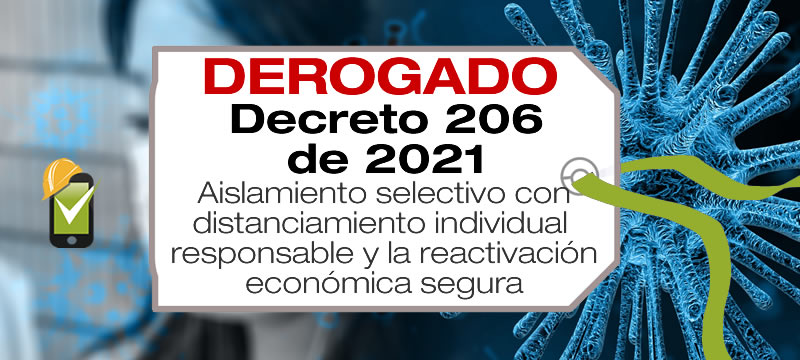 El Decreto 206 de 2021 establece el aislamiento selectivo con distanciamiento individual responsable y la reactivación económica segura.